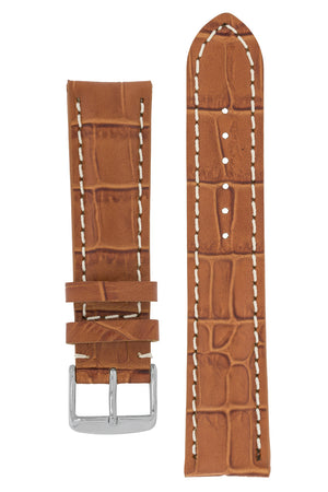 Load image into Gallery viewer, Breitling-Style Alligator-Embossed Watch Strap and Buckle in Brown