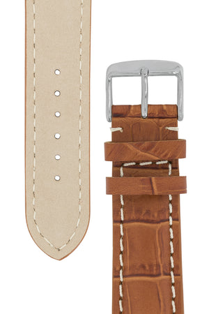Load image into Gallery viewer, Breitling-Style Alligator-Embossed Watch Strap and Buckle in Brown (Tapers)