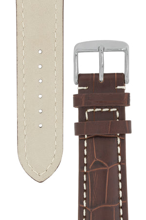 Breitling-Style Alligator-Embossed Watch Strap and Buckle in TABAC
