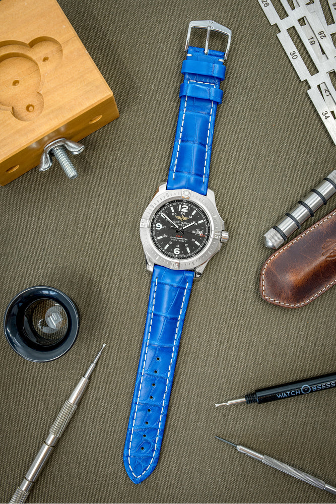 Hirsch Capitano Padded Alligator Leather Water-Resistant Watch Strap in Royal Blue with White Stitch (Promo Photo)