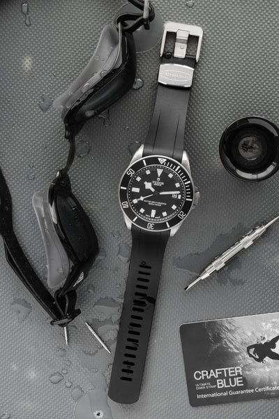 Crafter Blue Rubber Watch Strap for Tudor Pelagos Series in Black (Promo Photo)