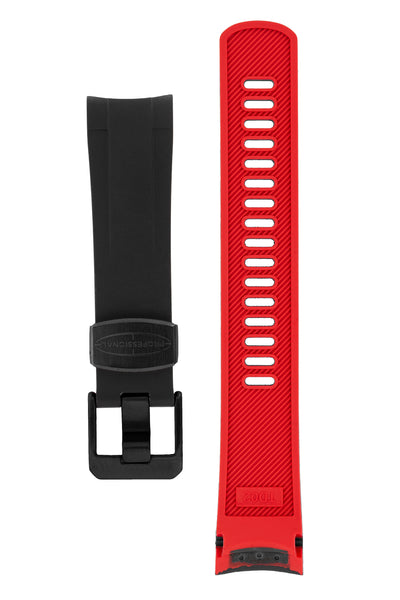 Crafter Blue Rubber Watch Strap for Tudor Pelagos Series in Black & Red (Black PVD Hardware)