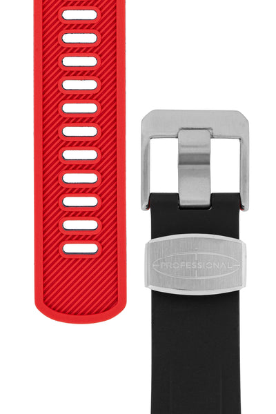 Crafter Blue Rubber Watch Strap for Tudor Pelagos Series in Black & Red (Tapers & Buckle)