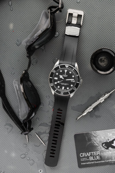 Crafter Blue Rubber Watch Strap for Tudor Pelagos Series in Black & Red (Promo Photo)