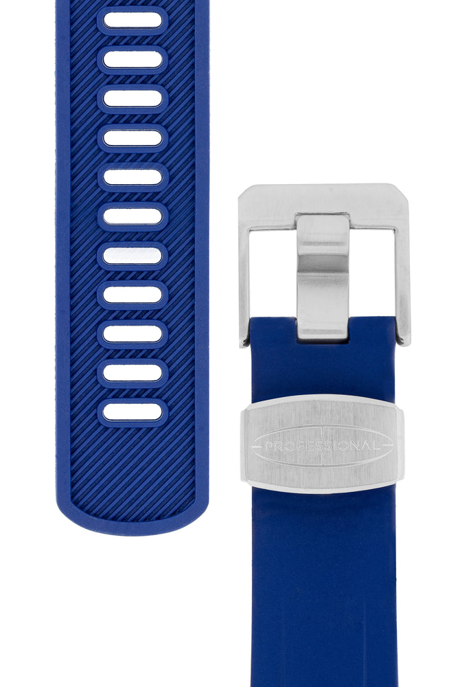 Crafter Blue Rubber Watch Strap for Tudor Pelagos Series in Blue (Tapers & Buckle)