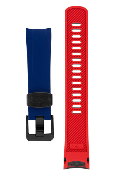 Crafter Blue Rubber Watch Strap for Tudor Pelagos Series in Blue & Red (Black PVD Hardware)