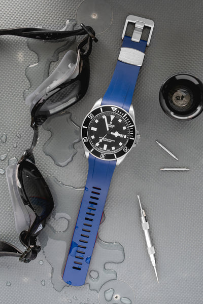 Crafter Blue Rubber Watch Strap for Tudor Pelagos Series in Blue & Red (Promo Photo)