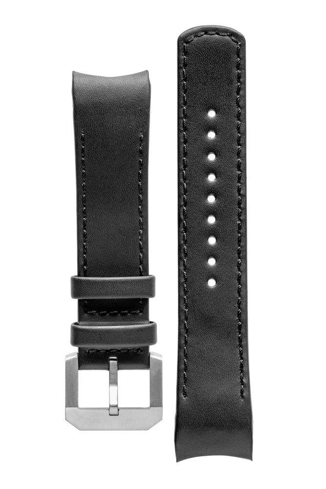 CRAFTER BLUE CB05L Italian Leather Curved End Watch Strap for Seiko SKX Series – BLACK