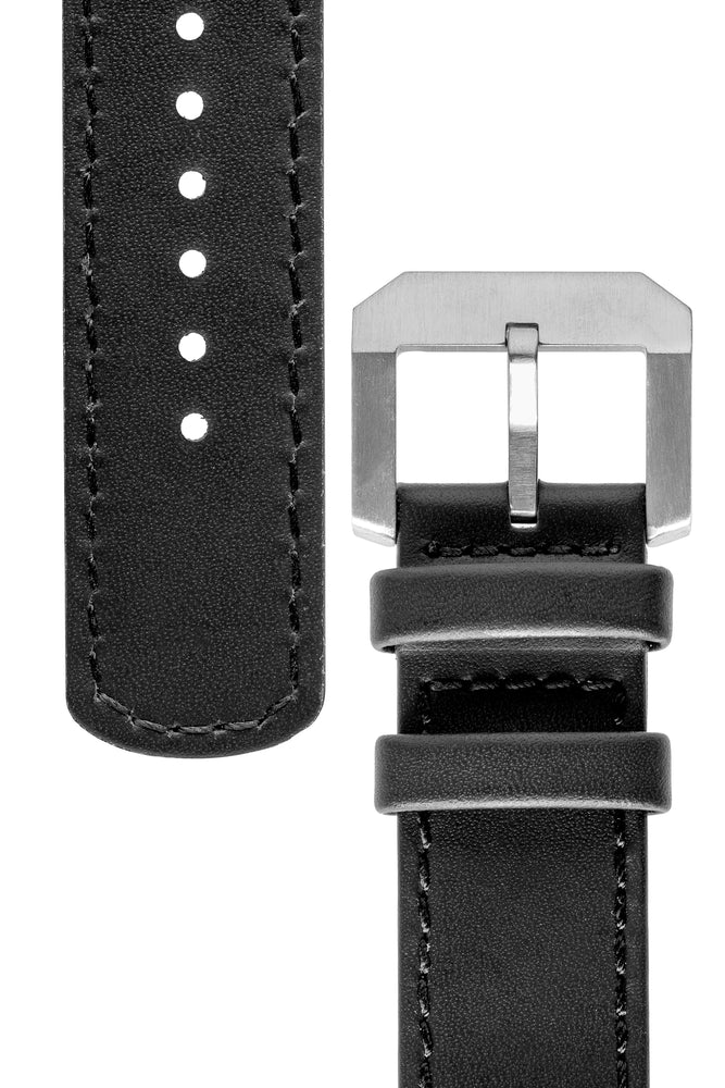 Crafter Blue Italian Leather Curved End Watch Strap for Seiko SKX Series – Black (Tapers & Buckle)