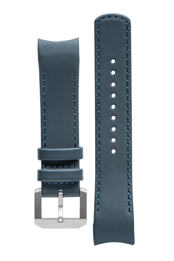 CRAFTER BLUE CB05L Italian Leather Curved End Watch Strap for Seiko SKX Series – NAVY BLUE