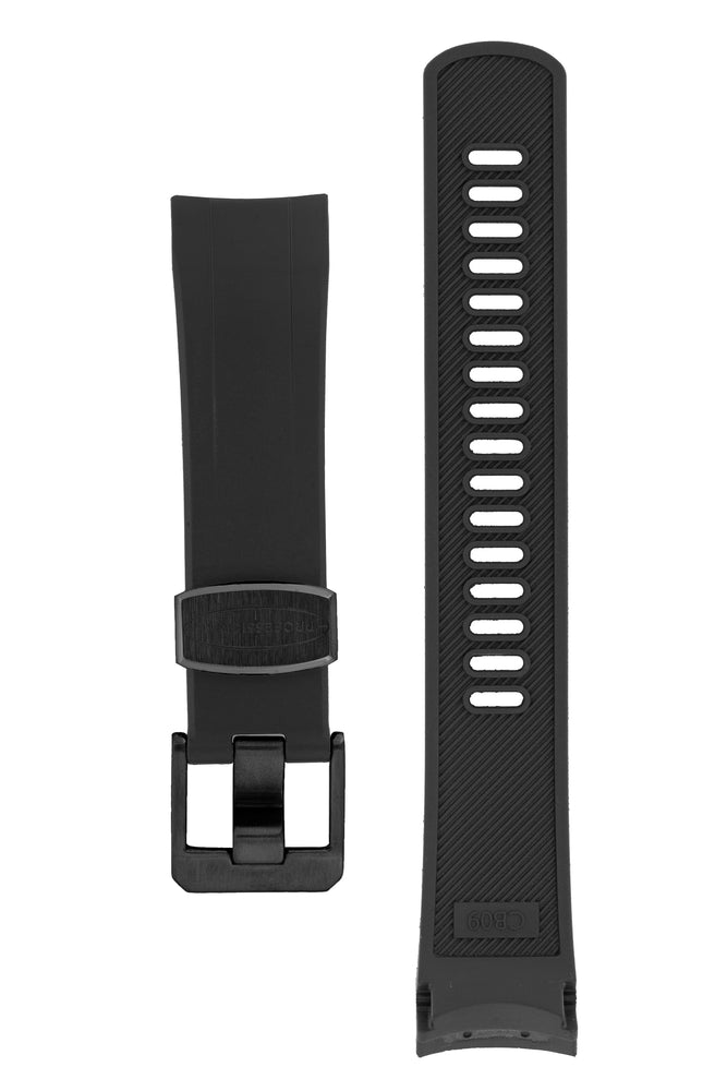 "Crafter Blue Rubber Watch Strap for Seiko ""New"" Samurai Series – Black (with Black PVD Hardware)"