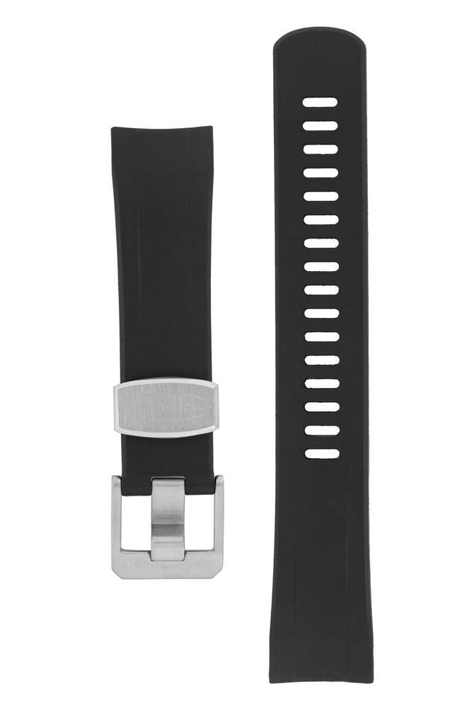 "Crafter Blue Rubber Watch Strap for Seiko ""New"" Samurai Series – Black (with Brushed Hardware)"