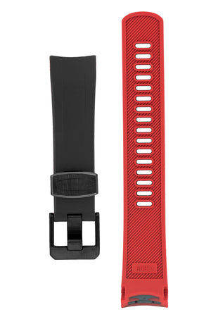 "Crafter Blue Rubber Watch Strap for Seiko ""New"" Samurai Series – Black & Red (Black PVD Hardware)"