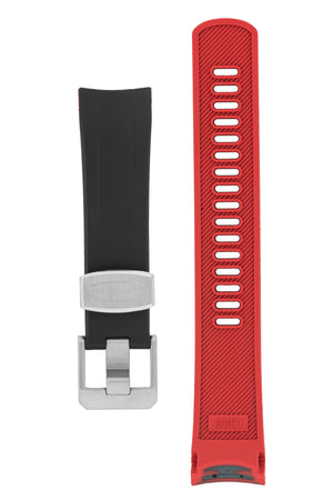 "Crafter Blue Rubber Watch Strap for Seiko ""New"" Samurai Series – Black & Red"