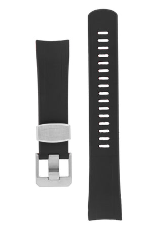 "Crafter Blue Rubber Watch Strap for Seiko ""New"" Samurai Series – Black & Red (Brushed Hardware)"