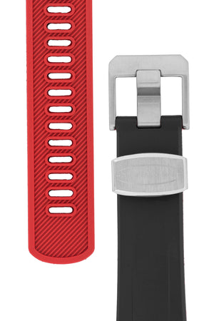 "Crafter Blue Rubber Watch Strap for Seiko ""New"" Samurai Series – Black & Red (Tapers & Buckle)"
