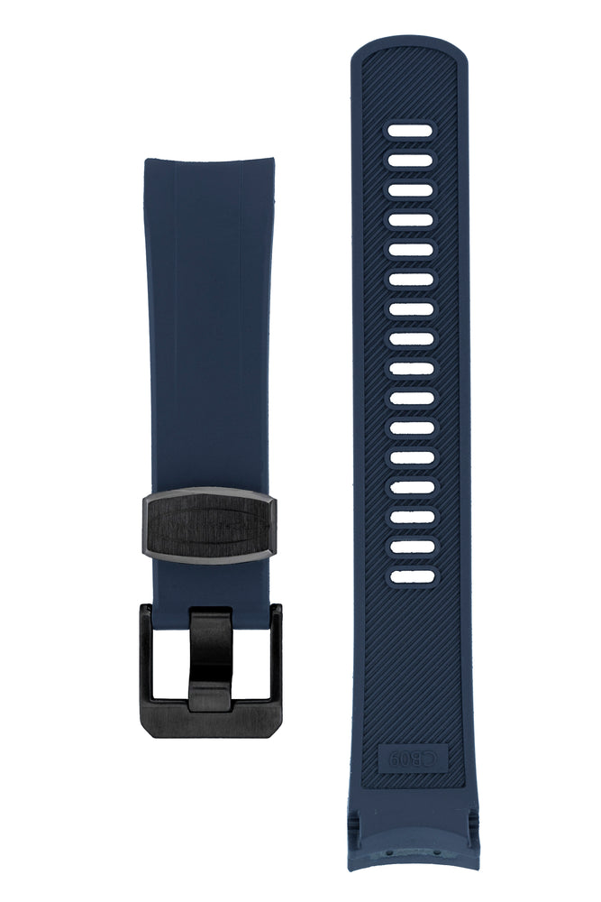 "Crafter Blue Rubber Watch Strap for Seiko ""New"" Samurai Series – Navy (Black PVD Hardware)"