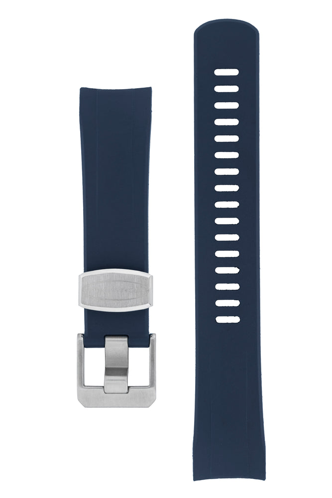 "Crafter Blue Rubber Watch Strap for Seiko ""New"" Samurai Series – Navy (Brushed Hardware)"