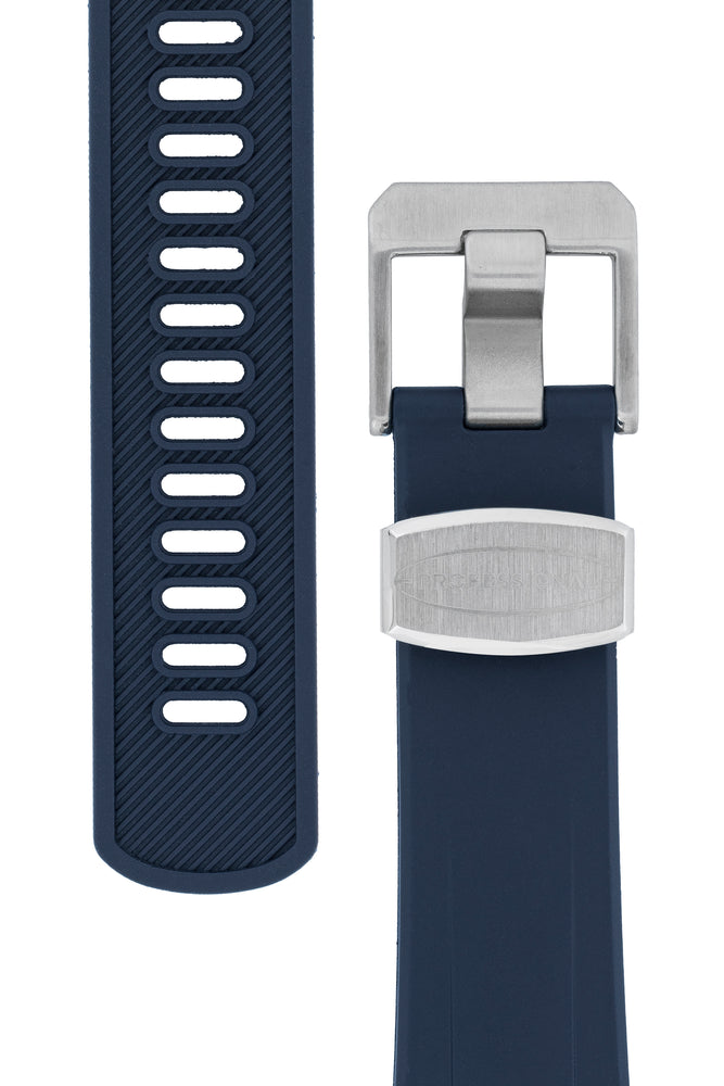 "Crafter Blue Rubber Watch Strap for Seiko ""New"" Samurai Series – Navy (Tapers & Buckle)"