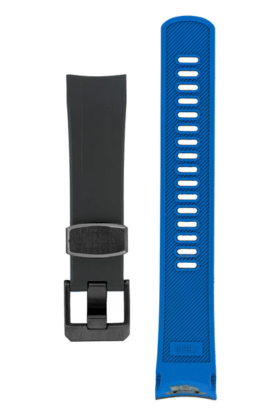 "Crafter Blue Rubber Watch Strap for Seiko ""New"" Samurai Series – Black & Blue (Black PVD Hardware)"