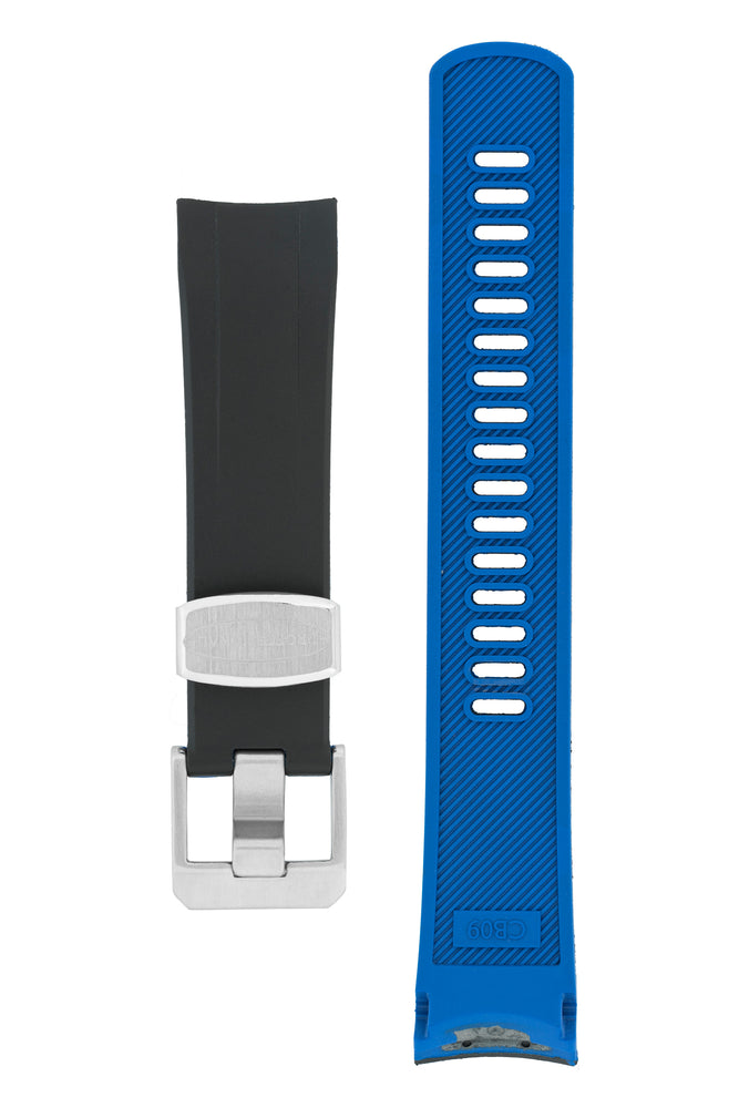 "CRAFTER BLUE CB09 Rubber Watch Strap for Seiko ""New"" Samurai Series – BLACK & BLUE"