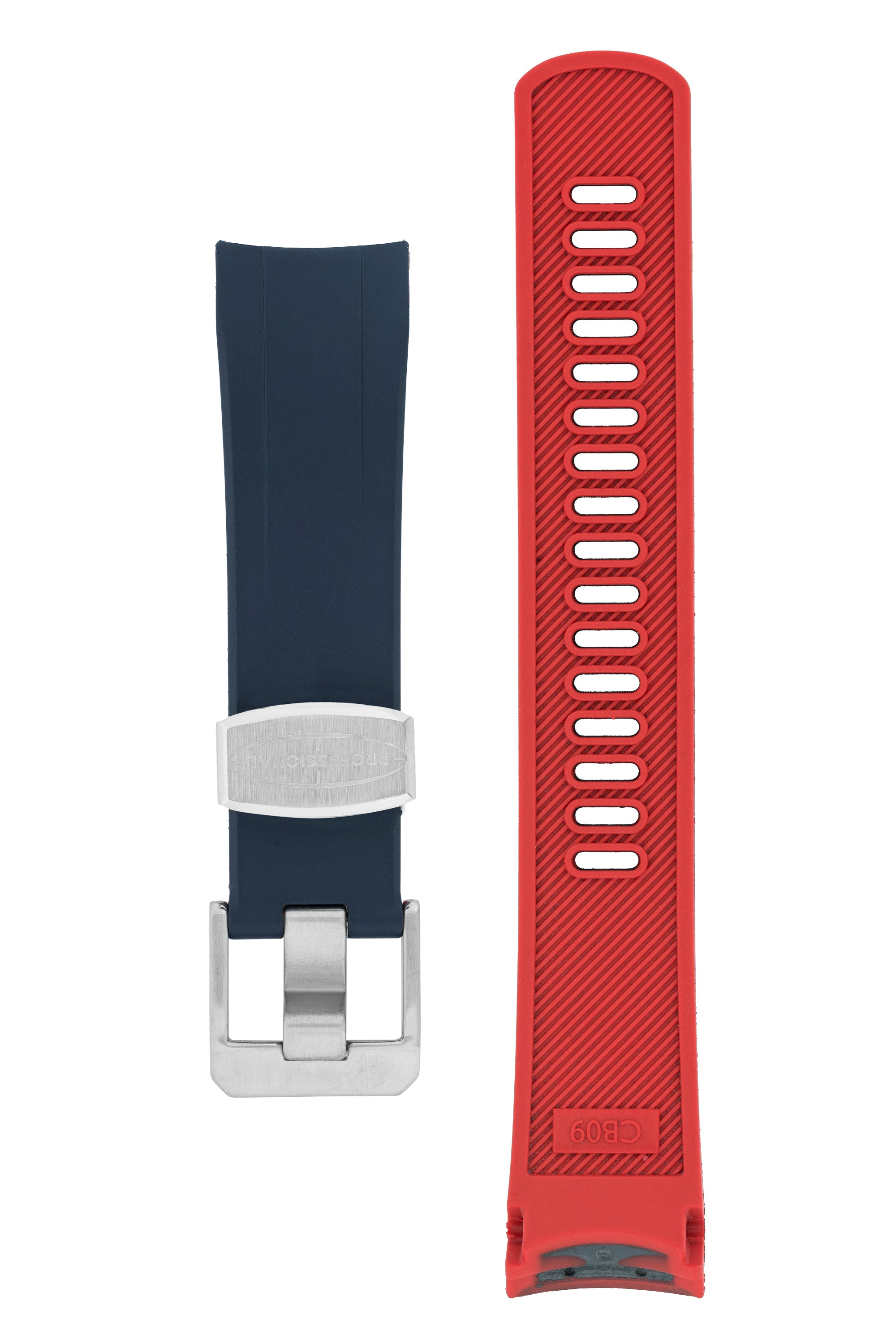"CRAFTER BLUE Rubber Watch Strap for Seiko ""New"" Samurai Series – NAVY & RED"