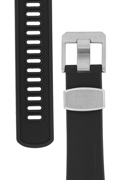 "Crafter Blue Rubber Watch Strap for Seiko ""New"" Samurai Series – Black (Tapers & Buckle)"