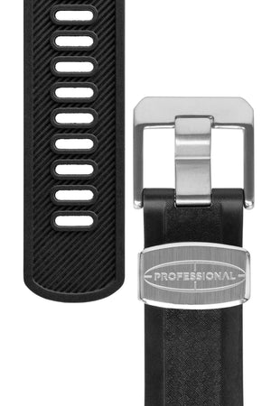 Crafter Blue Rubber Watch Strap for Seiko SKX Series – Carbon Fibre-Embossed Black with Rubber & Steel Keepers (Tapers & Buckle)