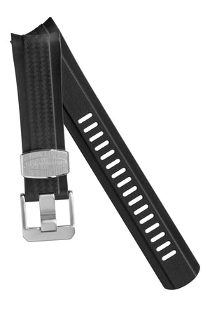 Crafter Blue Rubber Watch Strap for Seiko SKX Series – Carbon Fibre-Embossed Black with Rubber & Steel Keepers