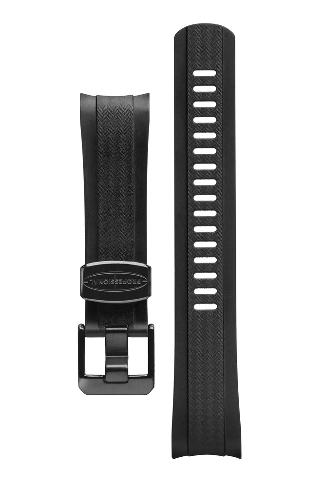 CRAFTER BLUE CB10 Rubber Watch Strap for Seiko SKX Series – CARBON BLACK with Rubber & Steel Keepers