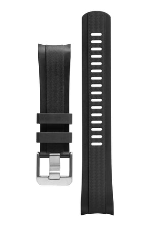 Crafter Blue Rubber Watch Strap for Seiko SKX Series – Carbon Fibre-Embossed Black with Rubber & Black PVD Steel Keepers