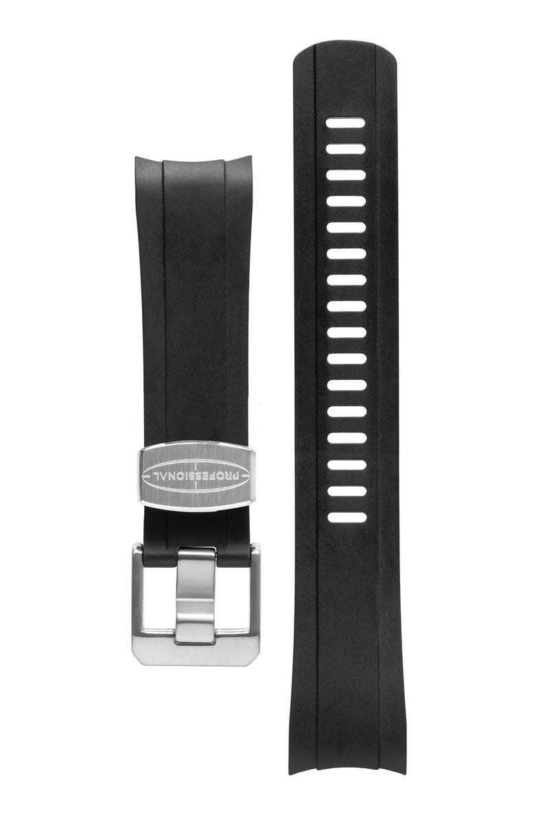 CRAFTER BLUE Rubber Watch Strap for Seiko SKX Series – BLACK with Rubber & Steel Keepers