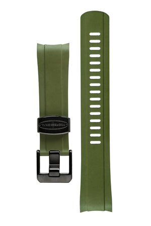 Crafter Blue Rubber Watch Strap for Seiko SKX Series in Green with Rubber & Black PVD Steel Keepers