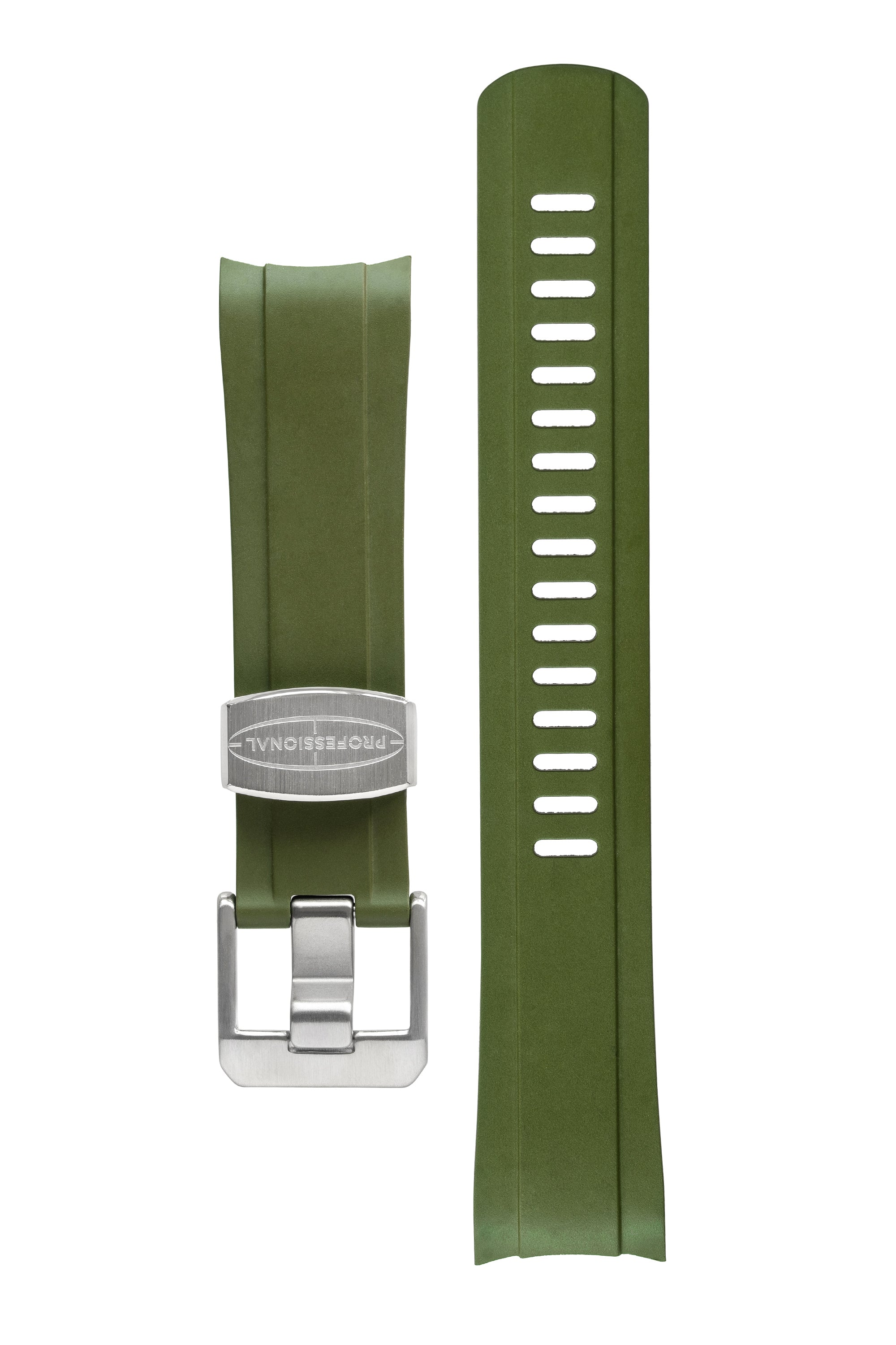 CRAFTER BLUE Rubber Watch Strap for Seiko SKX Series – GREEN with Rubber & Steel Keepers