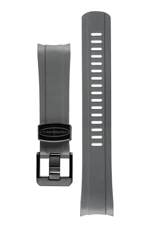 Crafter Blue Rubber Watch Strap for Seiko SKX Series in Grey with Rubber & Black PVD Steel Keepers