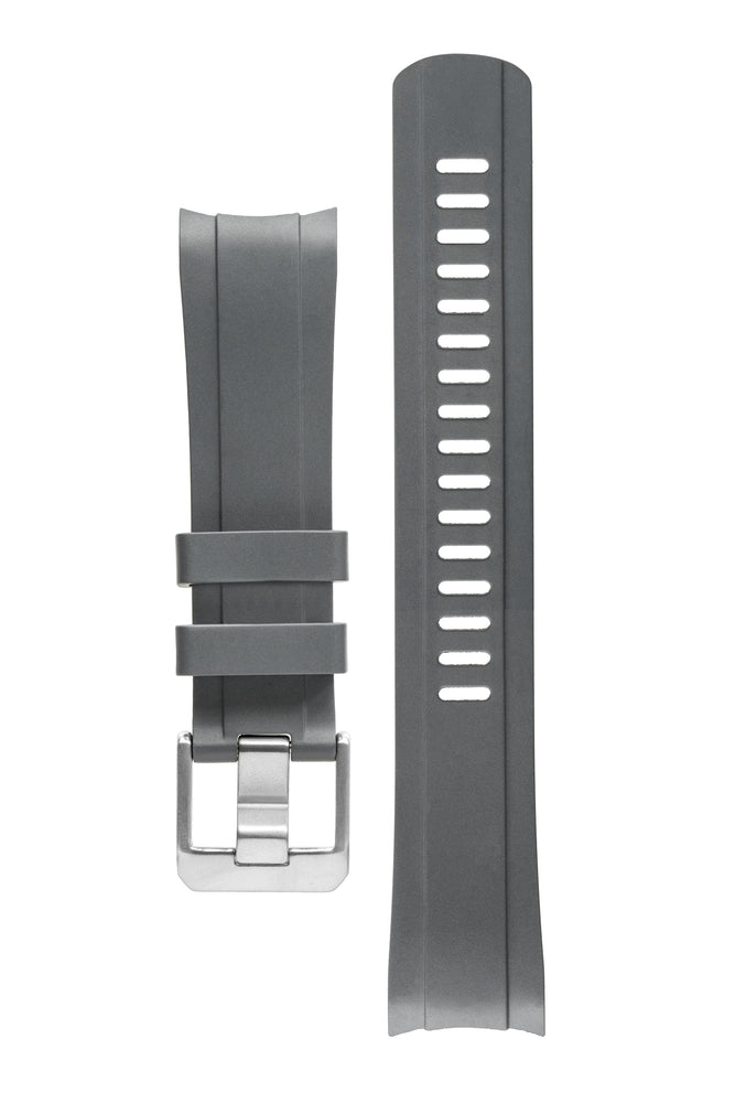 Crafter Blue Rubber Watch Strap for Seiko SKX Series in Grey with Rubber & Steel Keepers (Curved Ends)