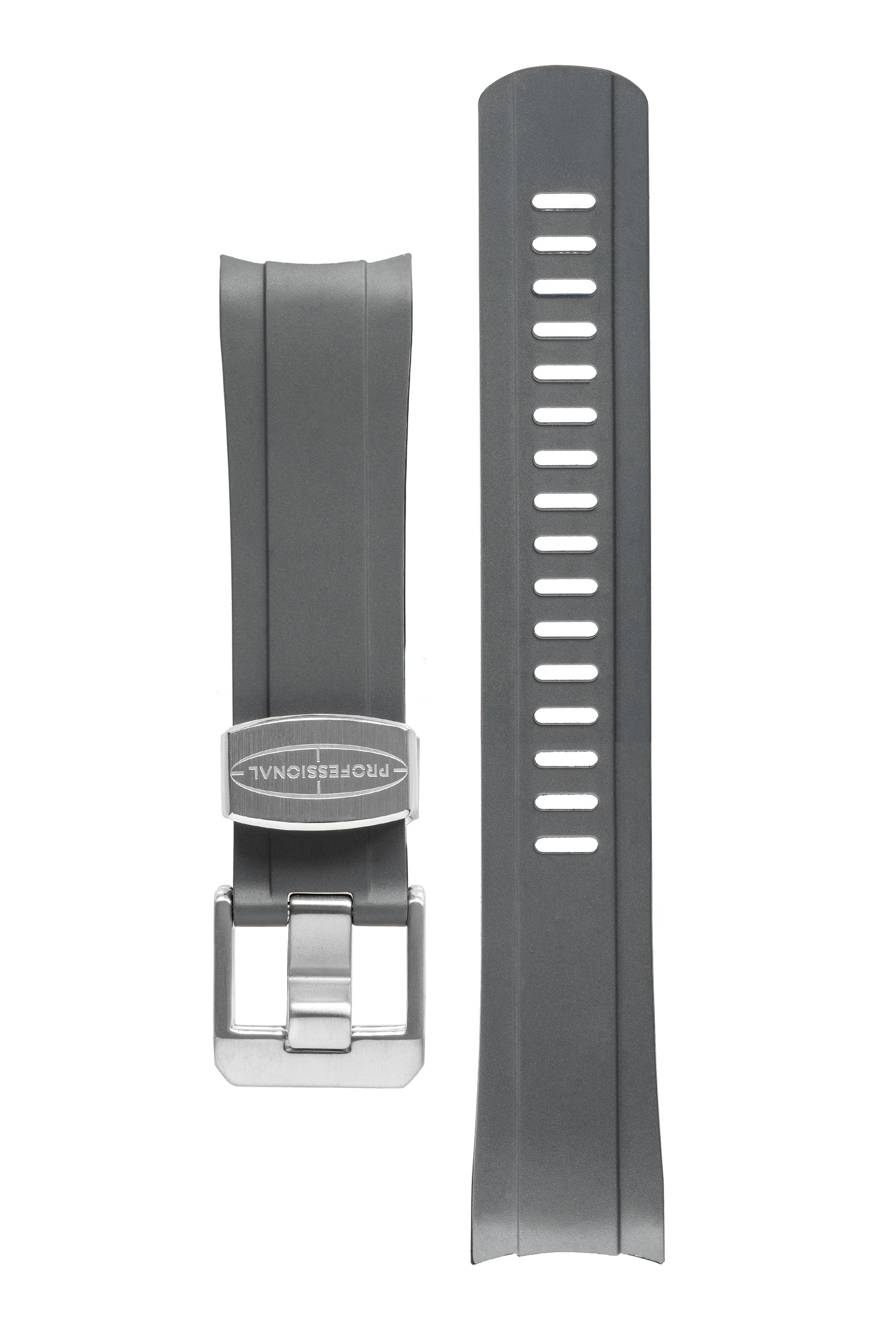 CRAFTER BLUE Rubber Watch Strap for Seiko SKX Series – GREY with Rubber & Steel Keepers
