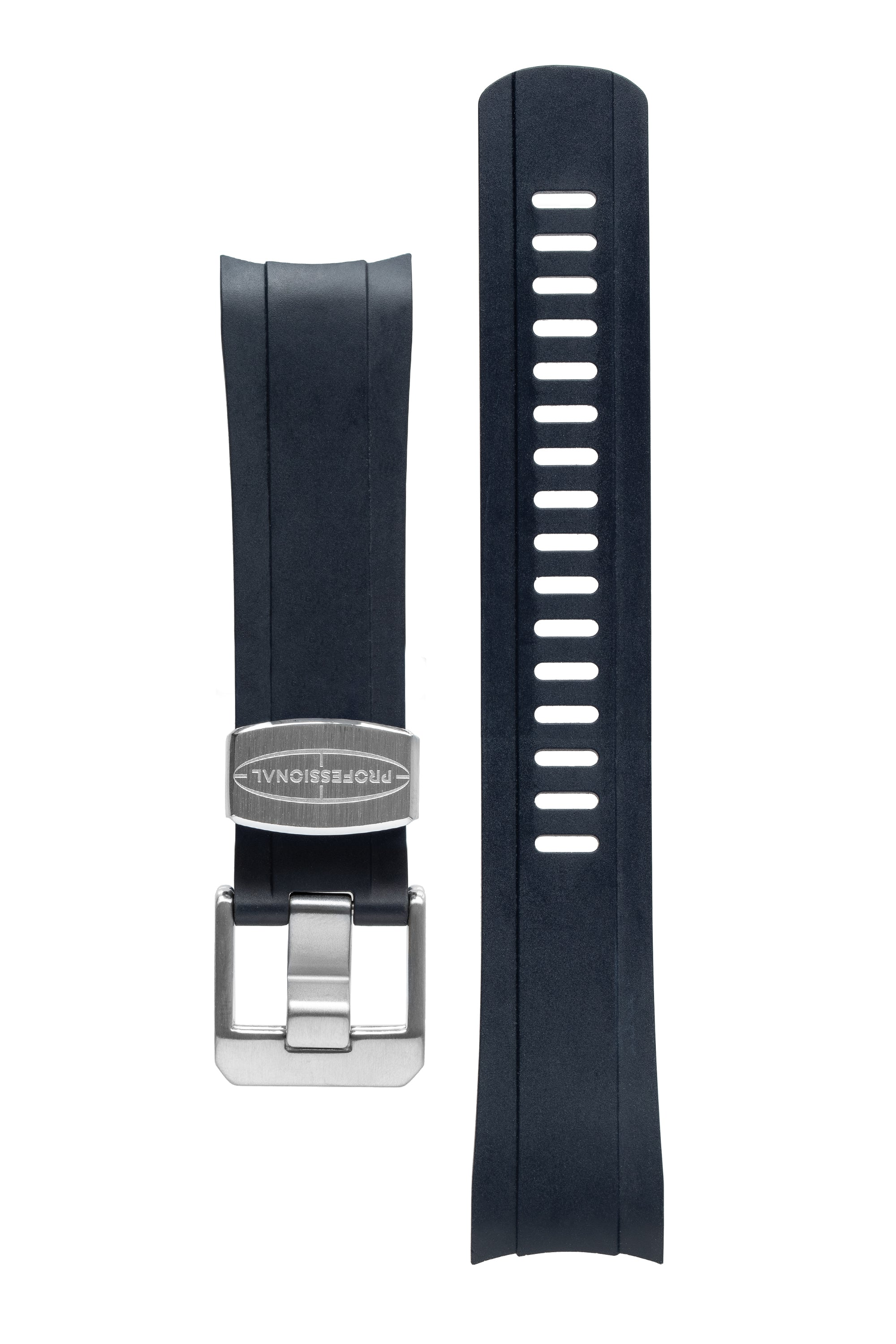 CRAFTER BLUE Rubber Watch Strap for Seiko SKX Series – NAVY BLUE with Rubber & Steel Keepers