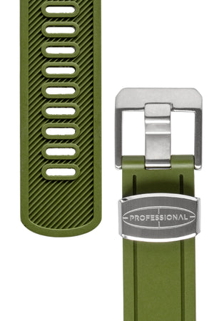 Load image into Gallery viewer, Crafter Blue Rubber Watch Strap for Seiko Sumo in Green (Tapers & Buckle)