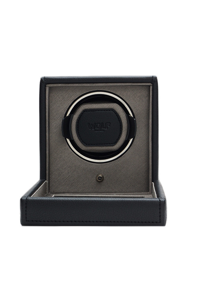 WOLF CUB Single Watch Winder with Cover in BLACK