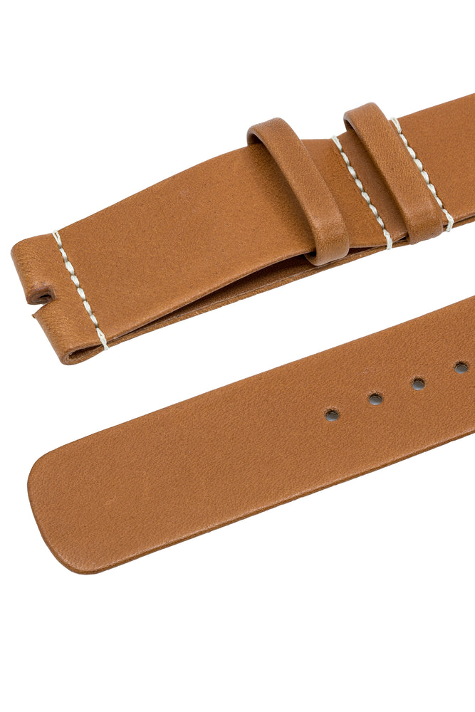OMEGA Novonappa Leather NATO Watch Strap in GOLD BROWN