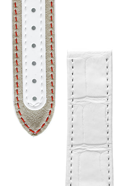 OMEGA CUZ004401 'White Side of The Moon' 21mm Alligator Deployment Strap - WHITE