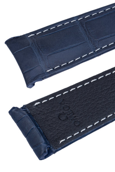 OMEGA CUZ005171 Speedmaster Moonphase 21mm Genuine Alligator Deployment Watch Strap in BLUE
