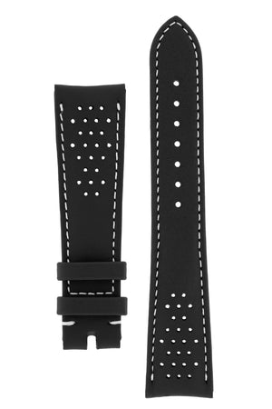 OMEGA Seamaster Olympic Perforated Leather Strap in Black with White stitch