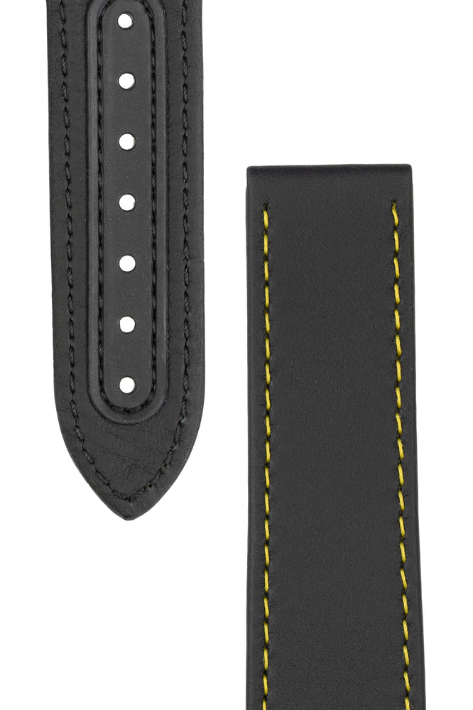 Load image into Gallery viewer, OMEGA CUZ011562 Speedmaster 'Apollo 8' 21mm Calfskin Deployment Strap - BLACK with Yellow Stitch