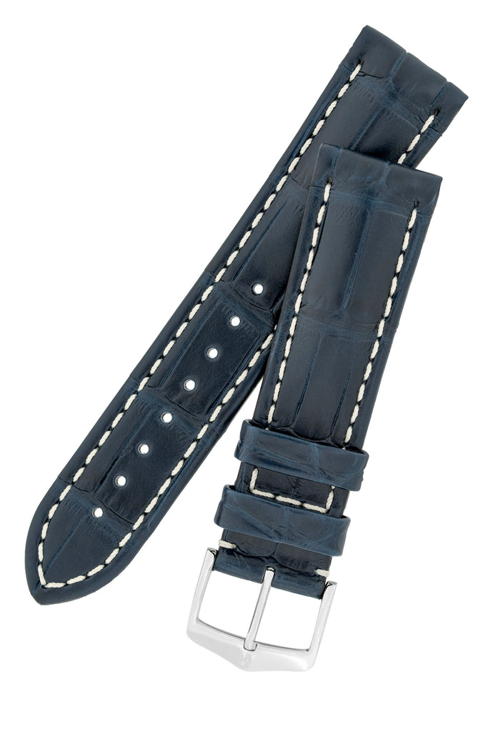 Hirsch CAPITANO Padded Alligator Leather Water-Resistant Watch Strap in BLUE