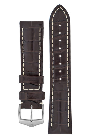 Hirsch CAPITANO Padded Alligator Leather Water-Resistant Watch Strap in BROWN