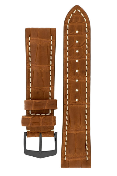 Hirsch CAPITANO Padded Alligator Leather Water-Resistant Watch Strap in GOLD BROWN
