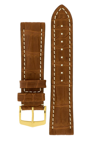 Hirsch Capitano Padded Alligator Leather Water-Resistant Watch Strap in Gold Brown with White Stitch (with Polished Gold Steel H-Classic Buckle)