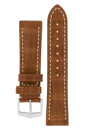 Hirsch Capitano Padded Alligator Leather Water-Resistant Watch Strap in Gold Brown with White Stitch (with Polished Silver Steel H-Classic Buckle)